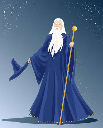 an illustration of a white haired wizard in a long blue cloak with hat and a golden staff under a starry sky
