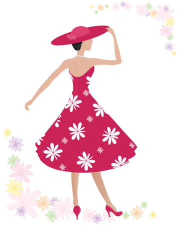 Illustration pour an illustration of a woman wearing a beautiful red summer dress with big white flower print and matching hat on a white background with colorful summer flowers - image libre de droit