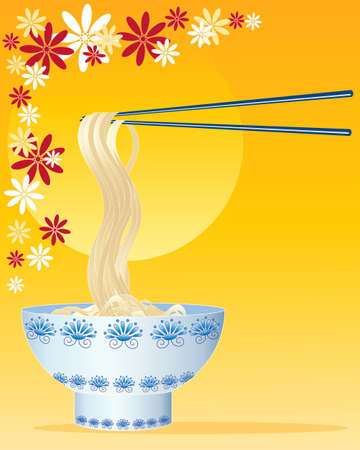 an illustration of chinese noodles with decorated bowl and chopsticks on a golden and floral background