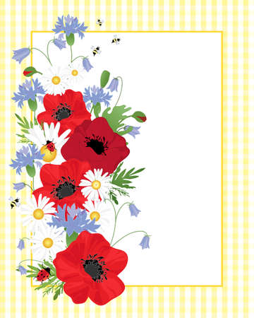 an illustration of an arrangement of wildflowers including poppies cornflowers and chamomile on a yellow gingham background with white note card for text and bees and ladybugs on the foliage