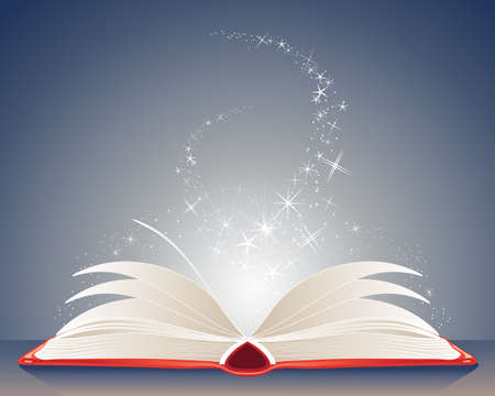 Illustration pour an illustration of a bright red magic book of spells open on a table with stars and sparkles on a dark blue background - image libre de droit