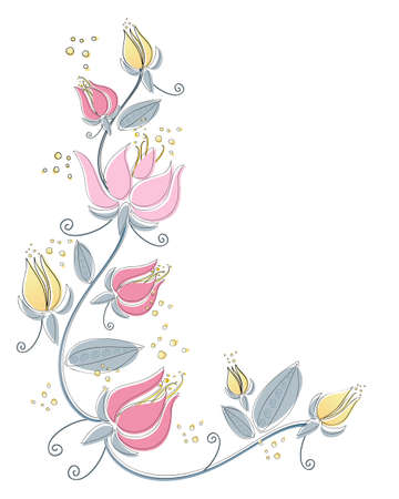 an illustration of an abstract lily flower design with black line drawing and color isolated on a white background