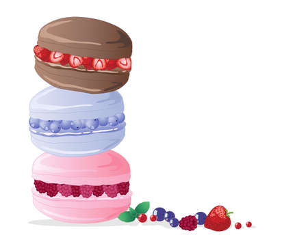 an illustration of three macaroons filled with strawberries blueberries and raspberries in a tower stack on a white background