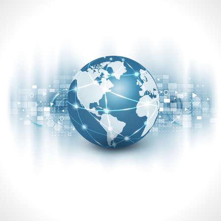 Photo for communication world & technology business  flow motion isolate white background, vector illustration - Royalty Free Image