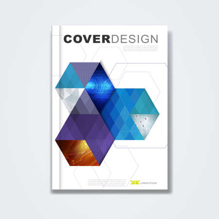 Illustration for Cover template, brochure layout, book cover, annual report, magazine or booklet with hexagon and geometric design on white background for technology and corporate concept in A4, vector - Royalty Free Image