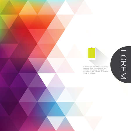 colorful transparency and fade triangle background with white space on beside for text. Modern background for business or technology presentation. vector illustration