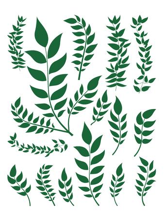 Illustration pour Plant leaf set for material design in illustration vector flat design - image libre de droit