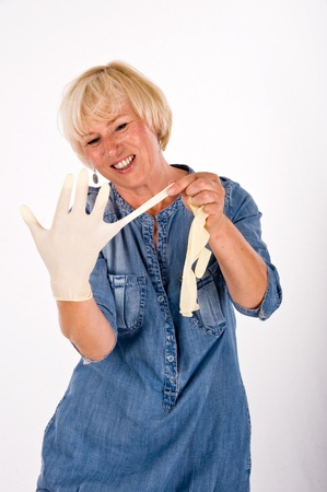 cleaning woman with rubber glove