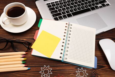 Photo pour Office desk table with supplies. Flat lay Business workplace and objects. Top view. Copy space for text - Image - image libre de droit