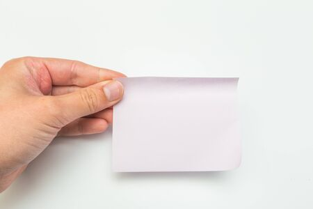 Photo pour sticky  note with hand on white background - Image - image libre de droit