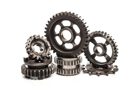 Photo pour Various car parts and accessories, isolated on white background gears - image libre de droit