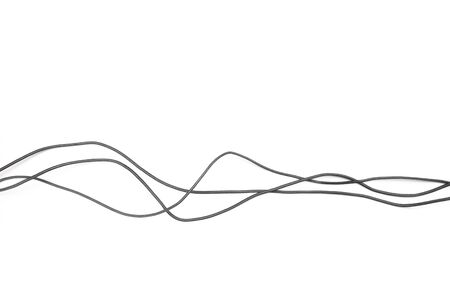 Photo pour Black power cable socket isolated on white background -  Image - image libre de droit