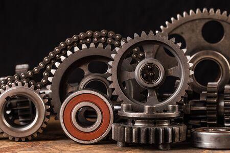 Photo pour Various car parts and accessories, on black  background - image libre de droit