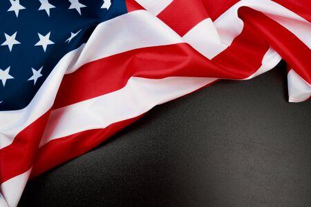 Photo pour American flag on a black  background  top view - Image - image libre de droit