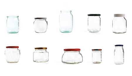 Photo for set of empty glass jar for conservation, isolated on white background - Image - Royalty Free Image