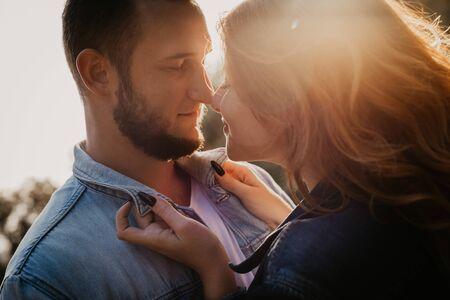 Photo pour Happy loving couple outdoor in park - Image - image libre de droit