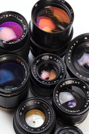 Photo for set of Vintage camera lens  isolated on white background  - Royalty Free Image
