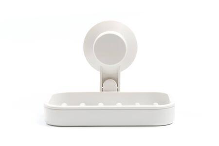 Photo pour Soap on a soap dish on a white background. - image libre de droit