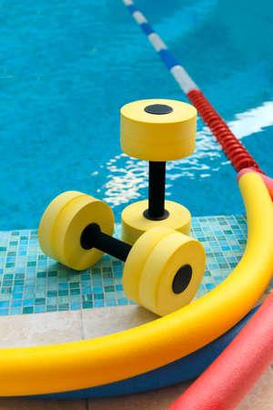 Foto de Equipment for Aqua Aerobics in the pool - Imagen libre de derechos