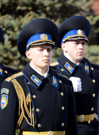 Soldiers of the presidential regiment on parade rehearsal on red square.