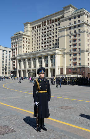 Soldiers of the presidential regiment during the rehearsal of the parade at the Manege square.