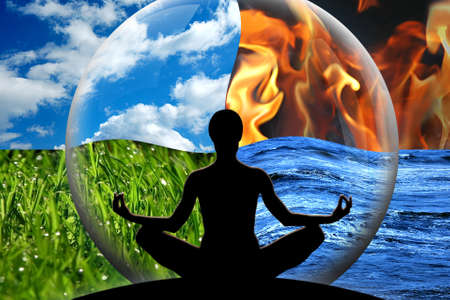 Female yoga figure in a transparent sphere, composed of four natural elements  water, fire, earth, air  as a concept for controlling emotions and power over nature