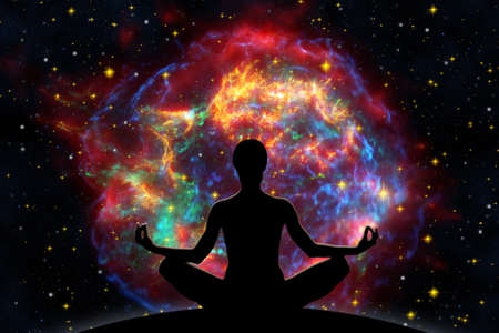 Female yoga figure against  universe background with Supernova explosion