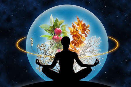Photo for Female yoga figure against a space background and a planet (composed of four branches in different season of the year), as a concept for harmony with universe, God and power over nature. - Royalty Free Image