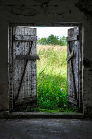 Photo pour Open wood door in abandoned house. Green sunny meadow outside. - image libre de droit