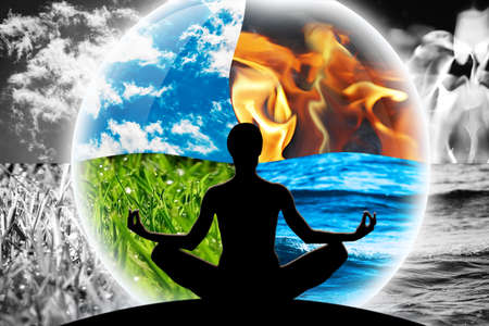 Female yoga figure in a transparent sphere, composed of four natural elements (water, fire, earth, air) on a background made of black and white elements, as a concept for controlling emotions, power over nature, calm and optimism.