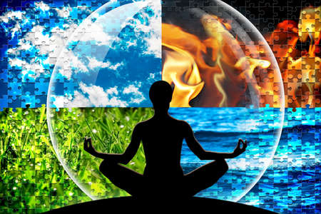 Female yoga figure in a circle composed of four puzzle cut natural elements (water, fire, earth, air)  as a concept for open mind, inner power, serene.