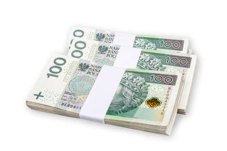 Photo pour Bundles of polish 100 zloty banknotes. Isolated on white. Path included. - image libre de droit
