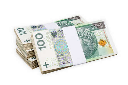 Photo pour Bundles of polish 100 zloty banknotes. Isolated on white. Clipping path included. - image libre de droit