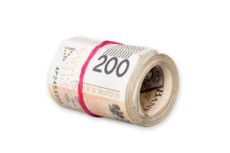 Photo pour Pile of rolled polish 200-zloty banknotes tied with rubber band isolated on white background - image libre de droit