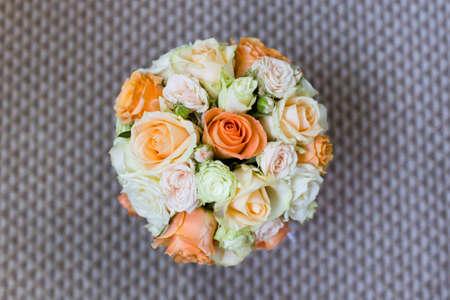 Foto de Beautiful bridal bouquet of different flowers - Imagen libre de derechos
