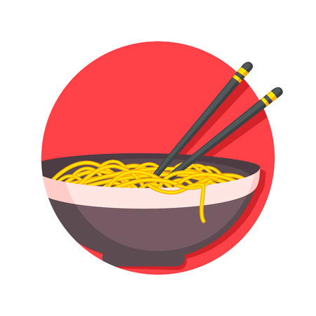 illustration of Asian traditional food, noodles icon