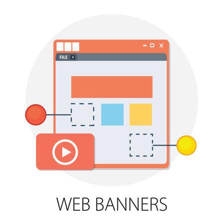 Illustration pour Vector illustration of website design concept & responsive, graphic interface - internet technology.  web design  digital interface. creative digital media layout - image libre de droit