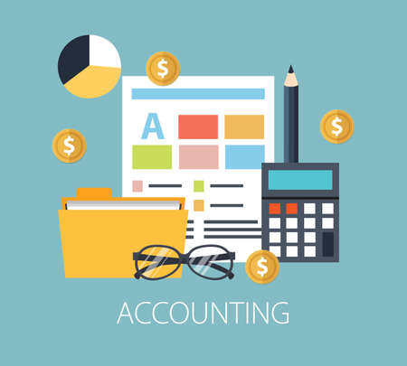 Illustration pour Working with financial papers. Accounting concept. Organization process, analytics, research, planning, report, market analysis. Flat style vector - image libre de droit