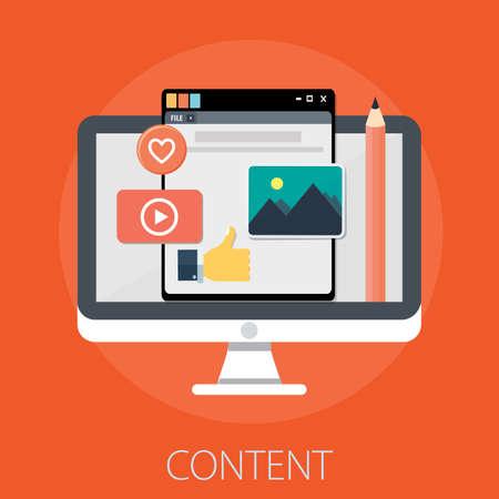 Illustration pour Vector illustration of computer content management concept with content computer contents icons. - image libre de droit