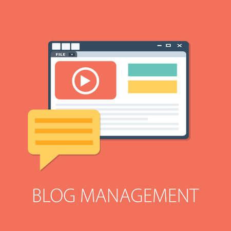 Illustration pour Flat illustration of Blog Management․ Modern Vector Icon. Blogging, Management, Online Blog. Content Management. Creative Writing - image libre de droit