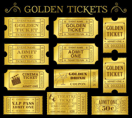 Set of eleven golden vector tickets and coupons templates  Vector file is organized in layers to separate Graphic elements from texture and text