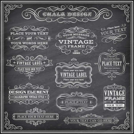 Big collection of vector Banners and Labels, with decorations, swirls and more vintage design elements on a detailed vector chalkboard backgroundの素材 [FY31034227230]