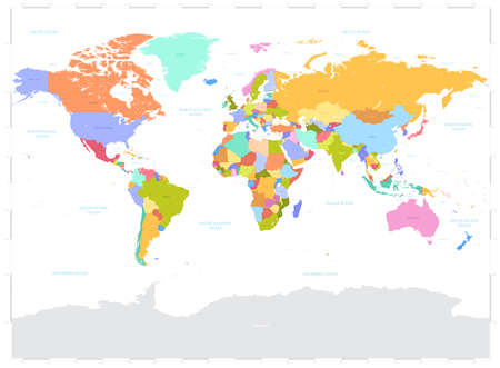 High Detail Vector Political World Map illustration,