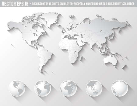 Photo pour An high quality world map in tones of grey with a cool flat shaded Shadow. - image libre de droit
