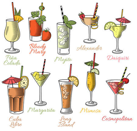 Set of ten beautiful illustration of some of the most famous Cocktails and Drink from all around the world