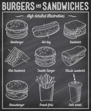 Gorgeous vector illustrations set of different kind of fast food specialties.