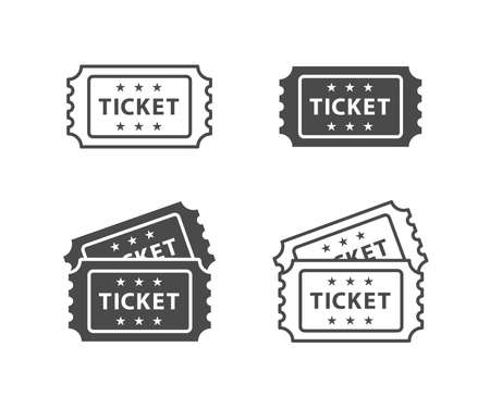 Illustration for Ticket Icon on Black and White Vector Backgrounds - Royalty Free Image
