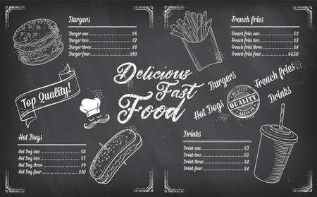 Illustration pour Fast food restaurant vector menu sketch template - image libre de droit