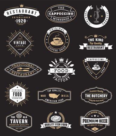 Illustration pour Food vintage design elements,  badges - image libre de droit
