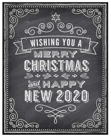 Foto für Vector Christmas Greeting Card with Chalk drawn Merry Christmas and Happy new 2020 year and a very cool background chalkboard. The art is fully layered for ease of editing. - Lizenzfreies Bild